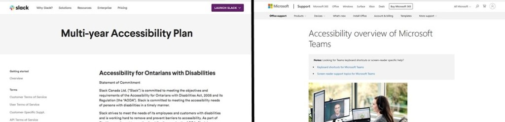 "Side-by-side view of Slack's page entitled ""Mulit-year Accessibility Plan"" and Microsoft's page entitled ""Accessibility Overview of Microsoft Teams"""