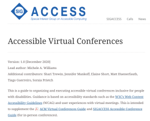 """SIGACCESS page for """"Accessible Virtual Conference"""" article, displaying the SIG Access logo prominently in the top left."""