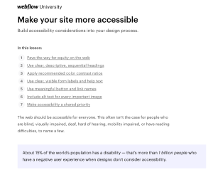 Webflow article top portion showing title and section links.