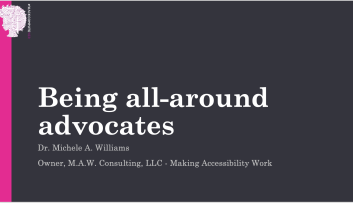 """Opening slide of """"Being all-around advocates"""""""