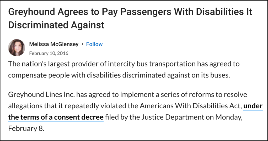 """News article with title, """"Greyhound Agrees to Pay Passengers With Disabilities It Discriminated Against"""""""