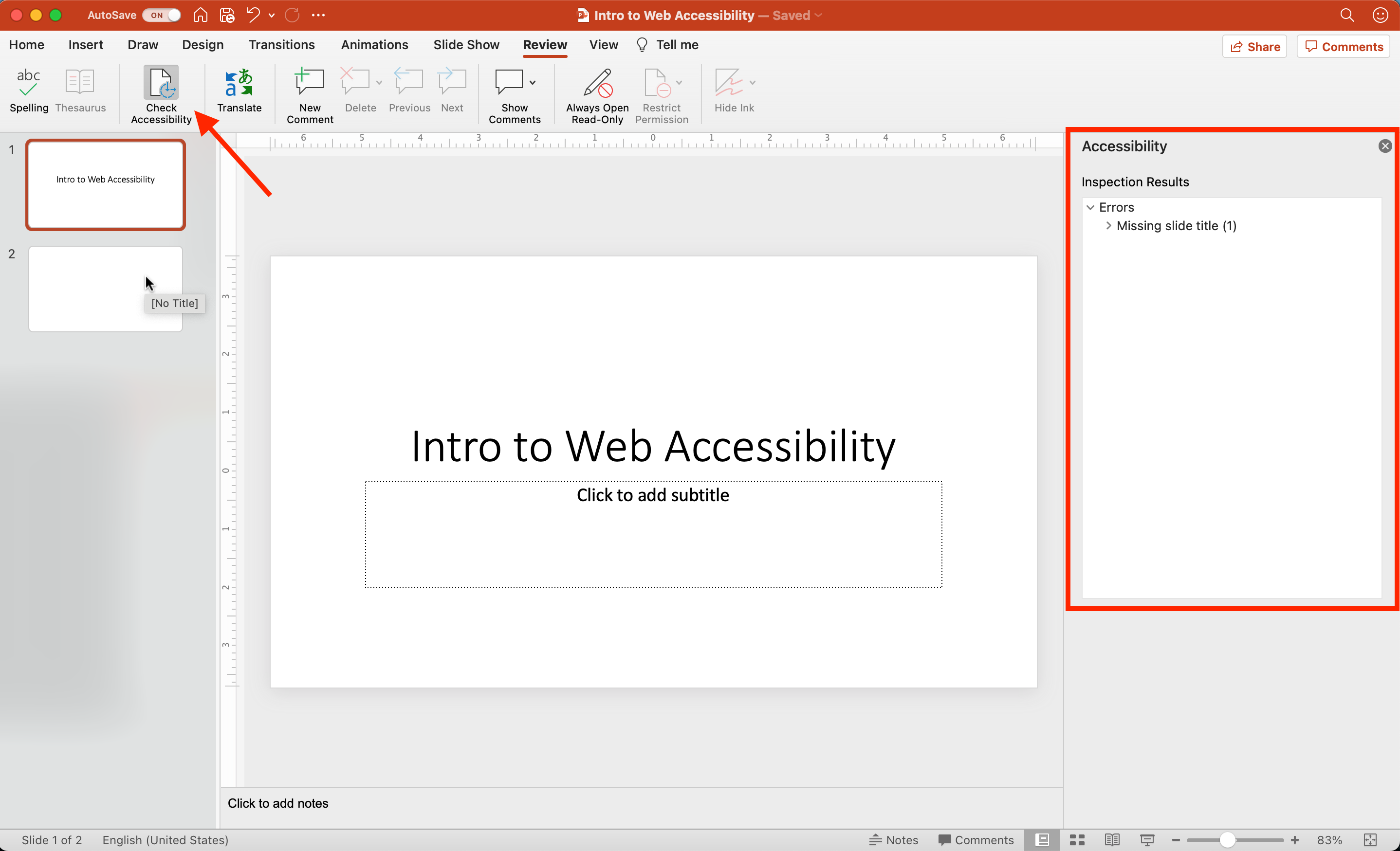 The Check Accessibility menu option is activated on a simple PowerPoint deck where one slide is missing a title. The Accessibility pane shows the 'Missing slide title' error and the mouse hover text for that slide also reads '[No Title]'.