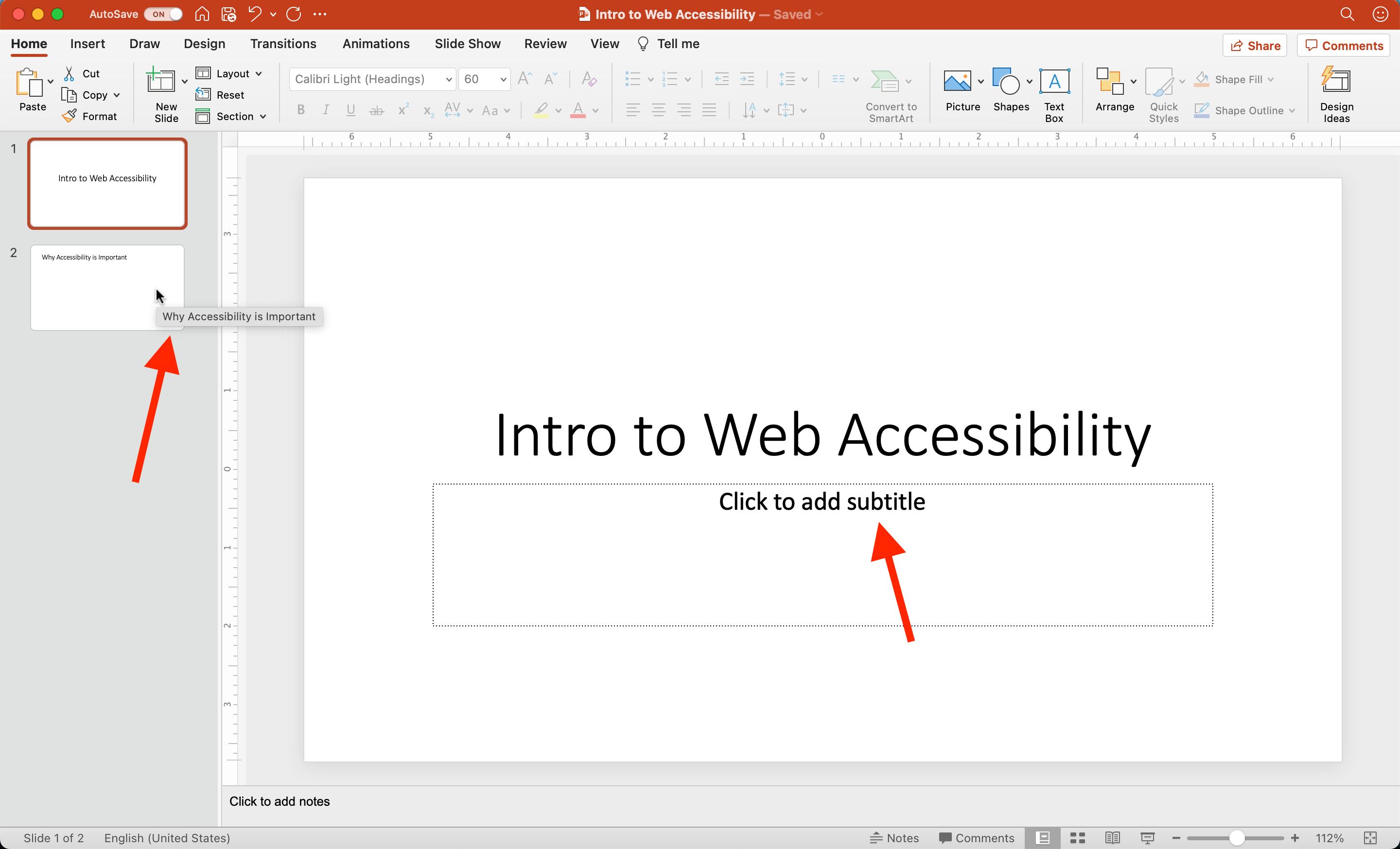 Two simple PowerPoint slides each have titles. The mouse cursor hovers over the second slide's thumbnail to show the title text appears as mouse hover content when properly formatted.
