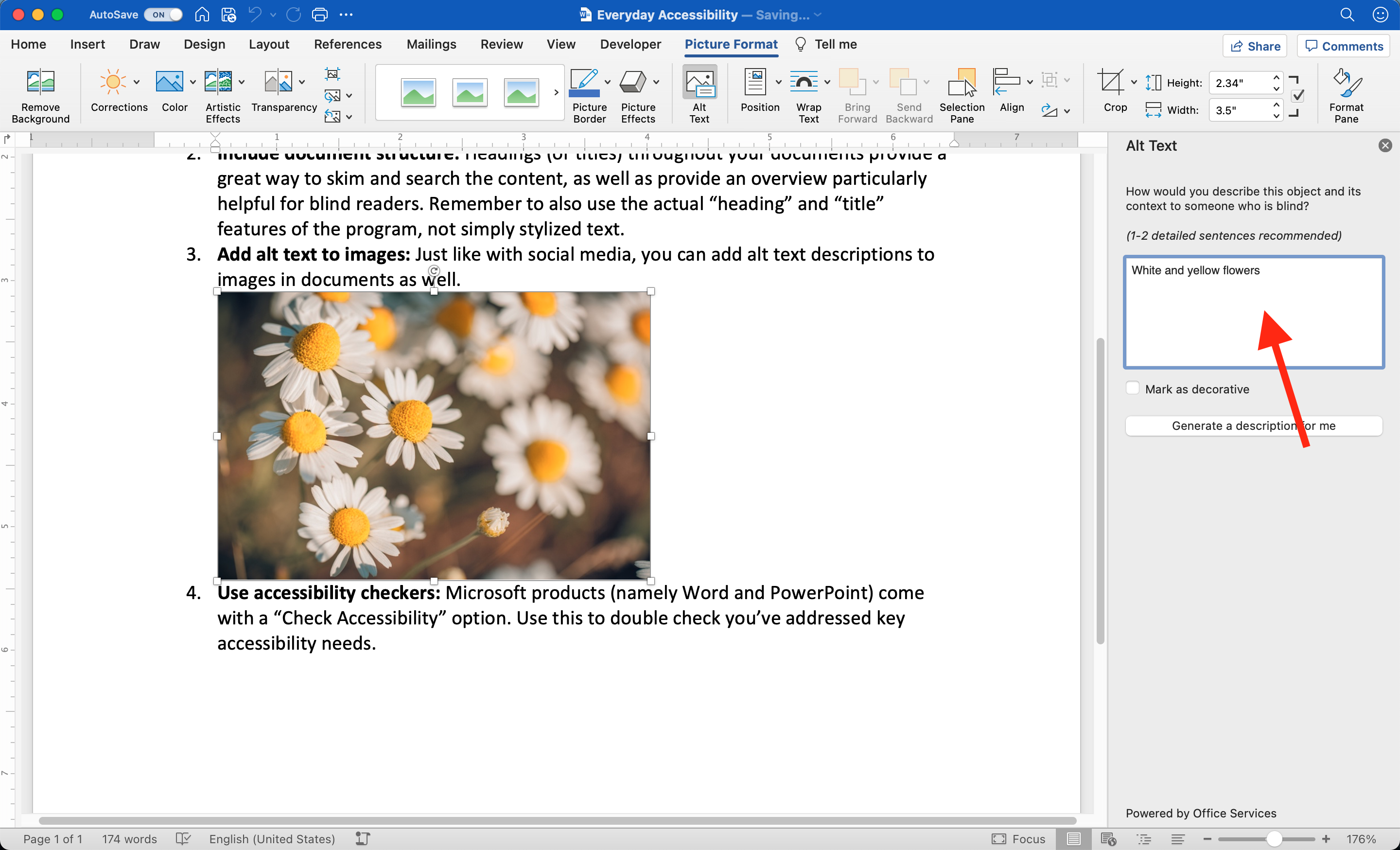 Word document has photo inserted and selected. In the right pane, the Alt Text option is open and showing an input field that reads 'White and yellow flowers'.