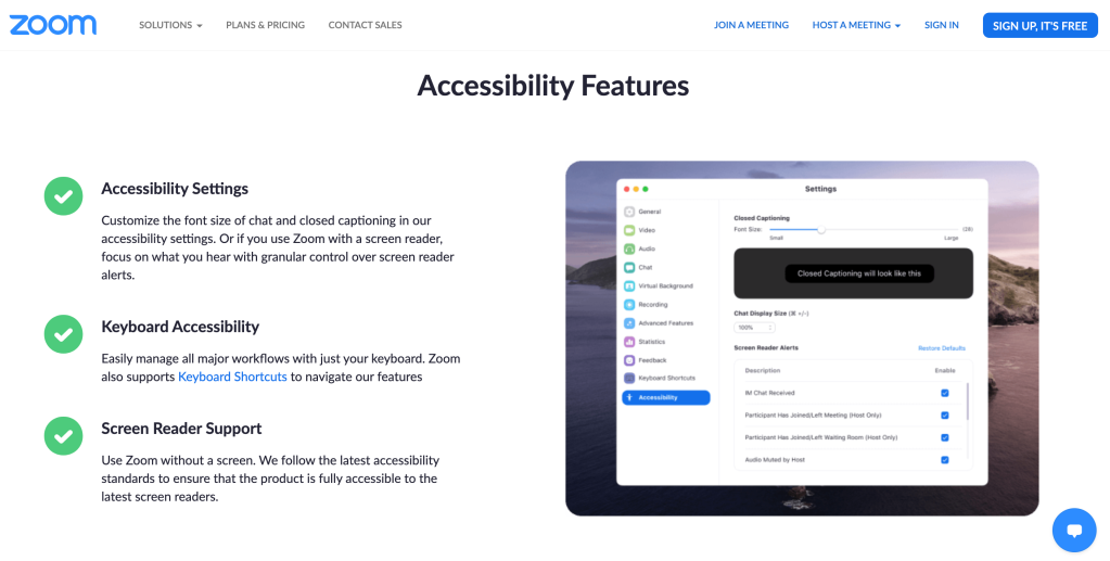Zoom video conferencing Accessibility landing page showing their accessibility features.