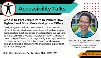 Original Accessibility Talks poster with abstract and speaker photo